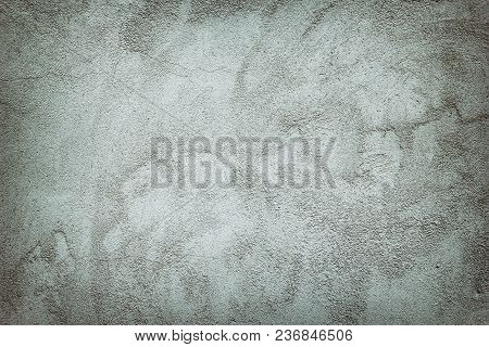Texture Of Gray Plastered Concrete Wall. Old Cement Surface With High Details As Background