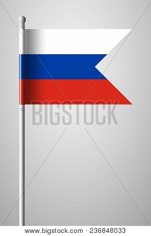 Flag Of Russia. National Flag On Flagpole. Isolated Illustration On Gray