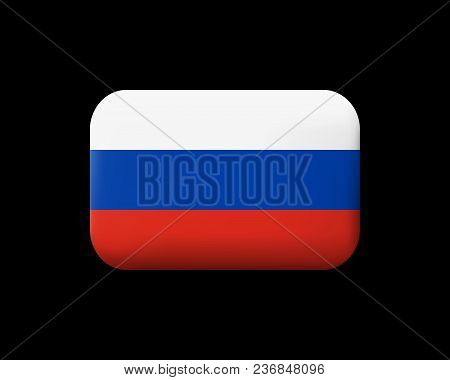 Flag Of Russia. Matted Vector Icon And Button. Rectangular Shape