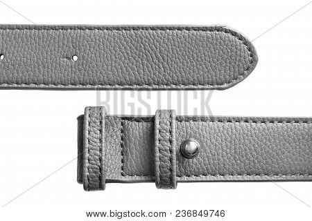 Grey Leather Unfastened Belt On White Background