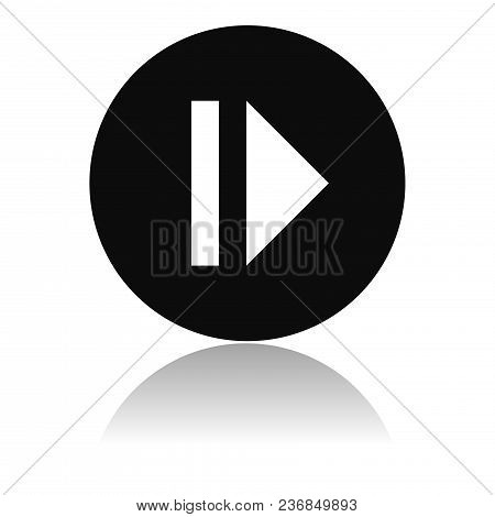 Pause Icon. Black Flat Round Icon With Reflection. Vector Illustration On White Background