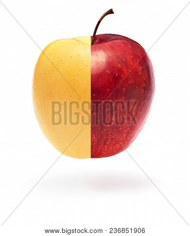 Half Yellow And Half Red Apple On White