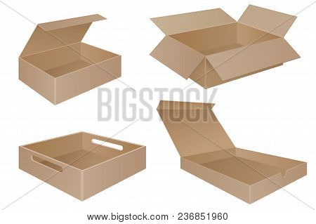 Brown Cardboard Boxes. Collection. Vector 3d Illustration Isolated On White Background