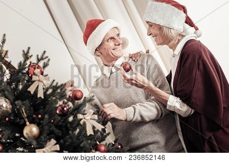 Take It. Profile Photo Of Elderly Female That Keeping Smile On Her Face And Embracing Her Man While