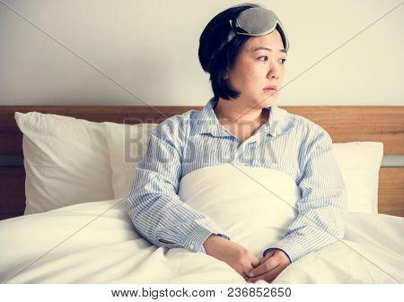 A woman waking up