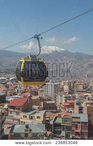 Bolivia, La Paz, 7 June 2015 - Mi Teleferico Is An Aerial Cable Car Urban Transit System In The City