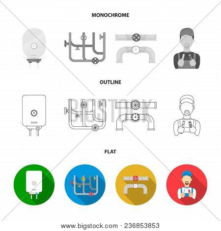 Sewage Hatch, Tool, Radiator.plumbing Set Collection Icons In Flat, Outline, Monochrome Style Vector