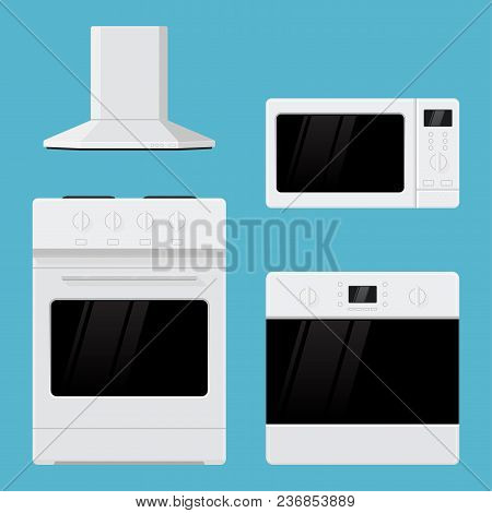 Home Appliances. Flat Design. Kitchen Range, Oven, Microwave Oven And Air Vent Hood. Vector Illustra