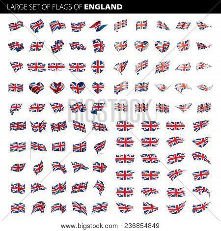 United Kingdom Flag, Vector Illustration On A White Background. Big Set