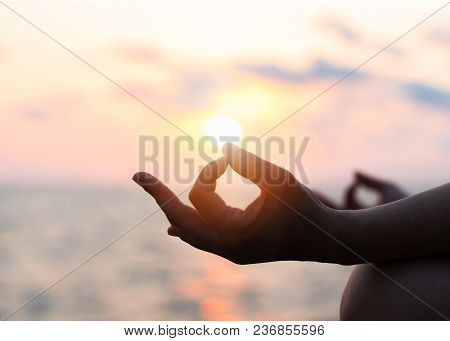 Mantra Yoga Meditation Practice With Silhouette Of Woman In Lotus Pose Having Peaceful Mind Relaxati