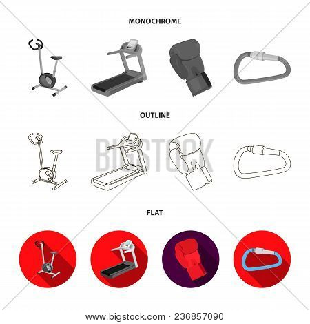 Exercise Bike, Treadmill, Glove Boxer, Lock. Sport Set Collection Icons In Flat, Outline, Monochrome