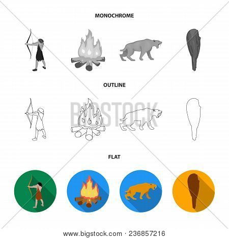 Man, Hunter, Onion, Bonfire .stone Age Set Collection Icons In Flat, Outline, Monochrome Style Vecto