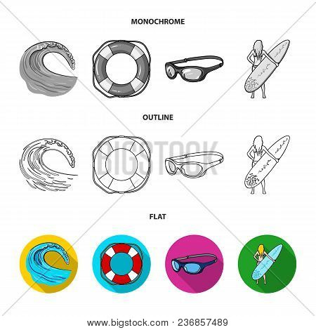 Oncoming Wave, Life Ring, Goggles, Girl Surfing. Surfing Set Collection Icons In Flat, Outline, Mono