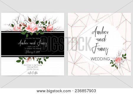 Save The Date Card, Wedding Invitation, Greeting Card With Beautiful Roses Flowers. Set Of Card With