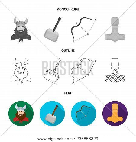 Viking In Helmet With Horns, Mace, Bow With Arrow, Treasure. Vikings Set Collection Icons In Flat, O