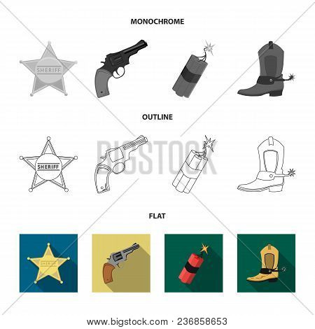 Star Sheriff, Colt, Dynamite, Cowboy Boot. Wild West Set Collection Icons In Flat, Outline, Monochro