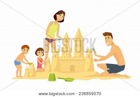 Happy Children On The Beach - Cartoon People Character Illustration Isolated On White Background. Sm