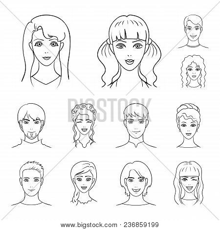 Avatar And Face Outline Icons In Set Collection For Design. A Person Appearance Vector Symbol Stock