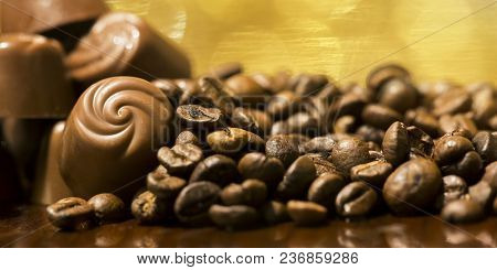 Fresh coffee beans close-up - web banner of morning, caffeine and freshness concept poster