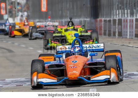 April 15, 2018 - Long Beach, California, USA: Scott Dixon (9) races at the Toyota Grand Prix of Long Beach at Streets of Long Beach in Long Beach, California.