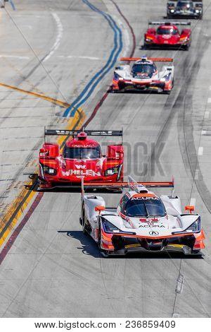 April 14, 2018 - Long Beach, California, USA:  The Team Penske Acura races through the turns at the Bubba Burger Sports Car Grand Prix At Long Beach at Streets of Long Beach in Long Beach, California.