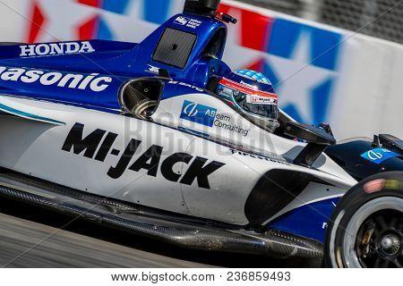 April 13, 2018 - Long Beach, California, USA: Takuma Sato (30) brings his race car through the turns during the Toyota Grand Prix of Long Beach race in Long Beach, California.
