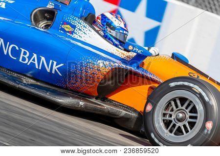 April 13, 2018 - Long Beach, California, USA: Scott Dixon (9) brings his race car through the turns during the Toyota Grand Prix of Long Beach race in Long Beach, California.