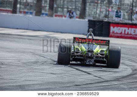 April 13, 2018 - Long Beach, California, USA: Sébastien Bourdais (18) brings his race car through the turns during the Toyota Grand Prix of Long Beach race in Long Beach, California.