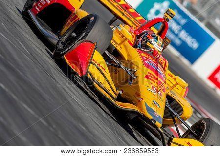 April 13, 2018 - Long Beach, California, USA: Ryan Hunter-Reay (28) brings his race car through the turns during the Toyota Grand Prix of Long Beach race Long Beach, California.