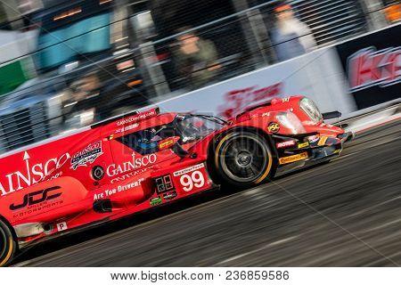 April 13, 2018 - Long Beach, California, USA:  The JDC-Miller Motorsports ORECA LMP2 car races through the turns at the Bubba Burger Sports Car Grand Prix At Long Beach in Long Beach, California.