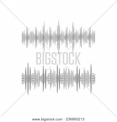 Halftone Sound Wave, Vector Illustration, Black And White Icons Isolated On White Background, Music
