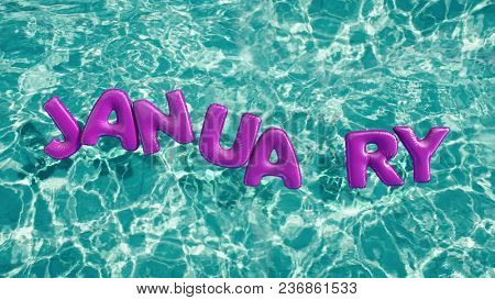 word JANUARY shaped inflatable swim ring floating in a refreshing blue swimming pool 3d rendering