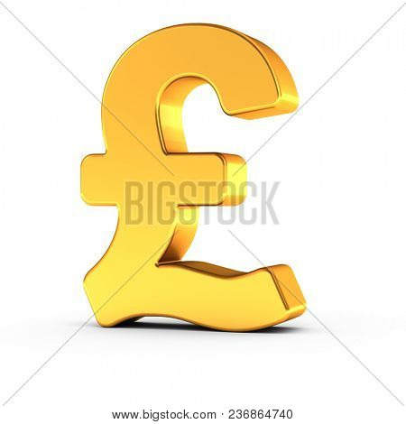 3D illustration of the British Pound symbol as a polished golden object over white background with clipping path for quick and accurate isolation.