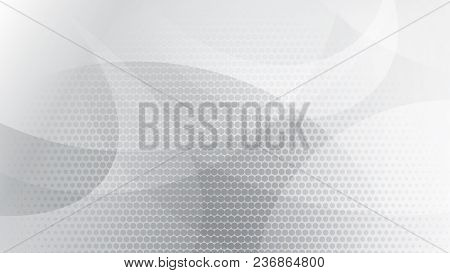 Abstract Background Of Curved Lines, Curves And Halftone Dots In White And Gray Colors