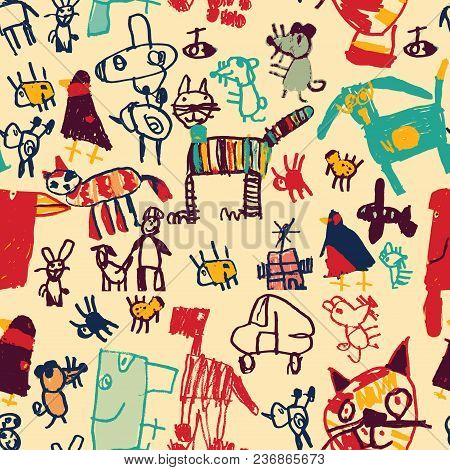 Hand Drawing Doodles Color Seamless Pattern. The Image Is Made Of Adults, Imitates Childlike Drawing