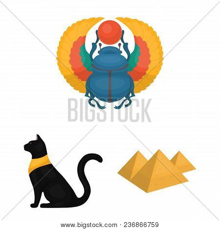 Ancient Egypt Cartoon Icons In Set Collection For Design. The Reign Of Pharaoh Vector Symbol Stock