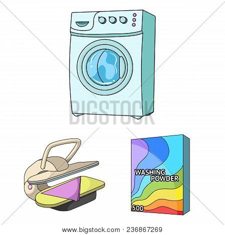 Dry Cleaning Equipment Cartoon Icons In Set Collection For Design. Washing And Ironing Clothes Vecto