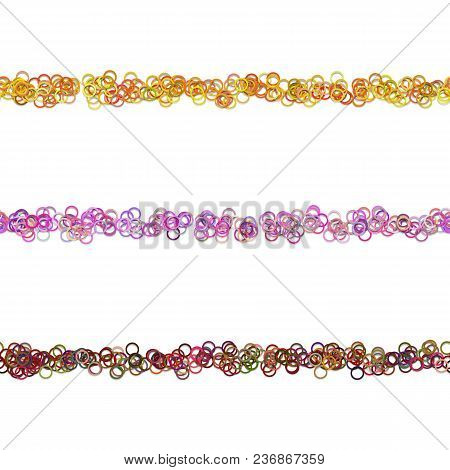 Random Circle Pattern Text Divider Line Design Set From Colored Rings - Repeatable Vector Graphic De