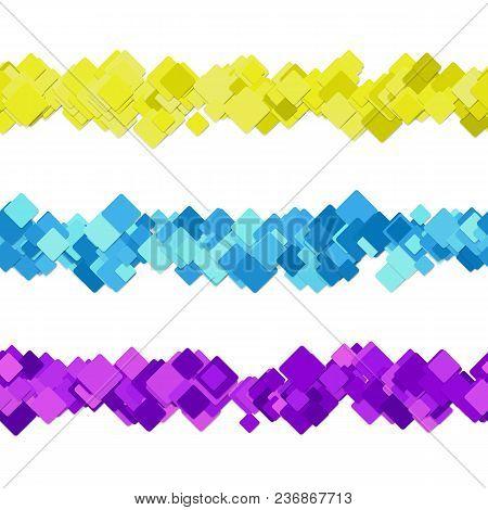 Repeatable Random Square Pattern Paragraph Dividing Line Design Set - Vector Graphic Design Elements