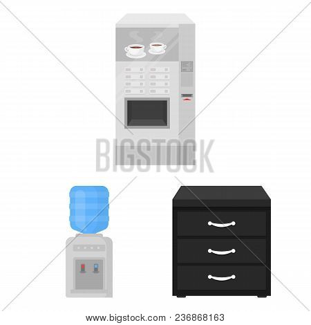 Interior Of The Workplace Cartoon Icons In Set Collection For Design. Office Furniture Vector Symbol