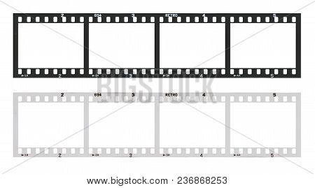 Film Strip Template With Frames, Empty Black And White 135 Type (35mm) In Negative And Positive Isol