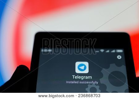 Moscow, Russia - April 17, 2018: A Mobile Phone In The Hand With The Telegram Application Installed