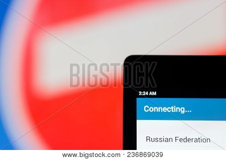 Moscow, Russia - April 17, 2018: A Mobile Phone In The Hand With The Telegram Application