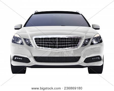 Large White Family Business Car With A Sporty And At The Same Time Comfortable Handling. 3d Renderin