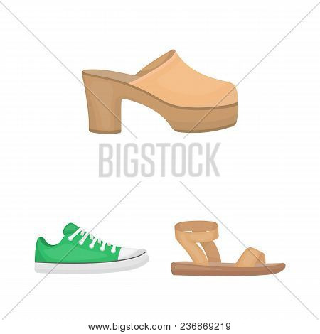 A Variety Of Shoes Cartoon Icons In Set Collection For Design. Boot, Sneakers Vector Symbol Stock  I