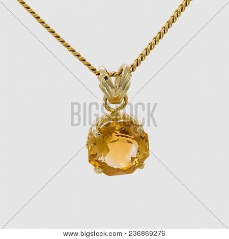 Pendant Yellow Gold 585 Citrine, 20x12 Mm A Beautiful, Gold-colored Citrine In Octagonal Cut - Set I