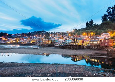 Traditional Stilt Houses Know As Palafitos In The City Of Castro At Chiloe Island In Southern Chile