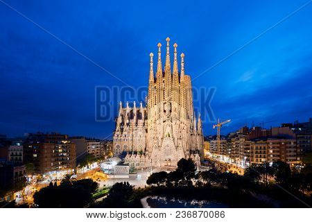 Barcelona, Spain - April 10,2018 : Night View Of The Sagrada Familia, A Large Roman Catholic Church