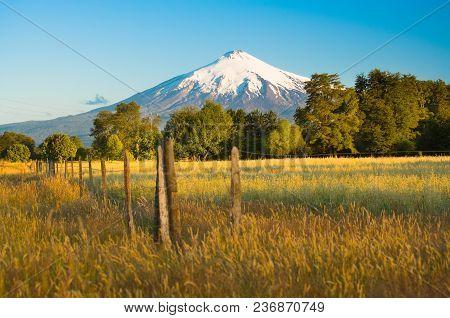 Villarrica Volcano  In The Araucania Region At Southern  Chile, South America