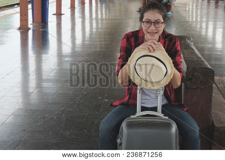 Asian Woman With Suitcase Luggage Baggage Waiting For Train At Railway Station